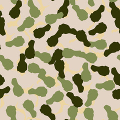 Forest camouflage of various shades of green, beige and yellow colors