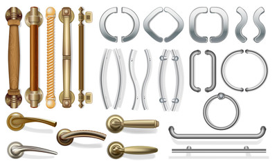 A set of door handles for doors of different types. push handles for entrance doors, between rooms. Metal and wood. For web design. Isolated on white background. Vector illustration. Wall mural