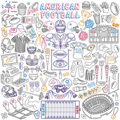 American football doodle set. Sport objects - stadium, field, athletic equipment and pigskin ball. Vector drawing isolated on white background.