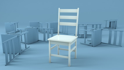Chair concept in white and blue