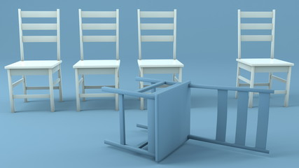 Chairs in white and blue