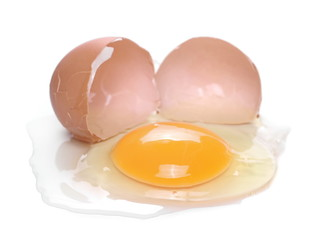Broken egg isolated on white background