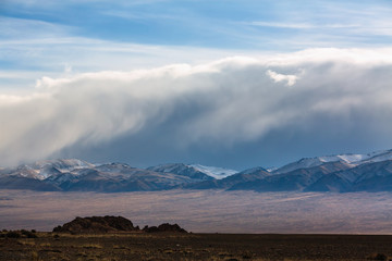 View of the mountain landscape of Western Mongolia.