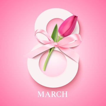 Happy Women's Day. 8 march concept. Eight with pink tulip and decorative bow. Vector illustration