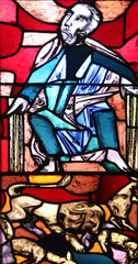 The Prophet Micah with a lion symbol, stained glass window in Basilica of St. Vitus in Ellwangen, Germany