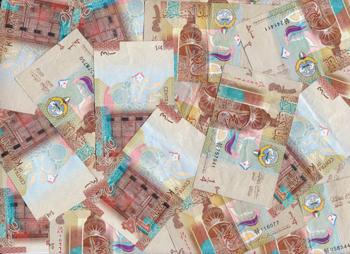 Maroon Quarter Dinar Kuwait Banknotes Blended Into A Financial Backdrop