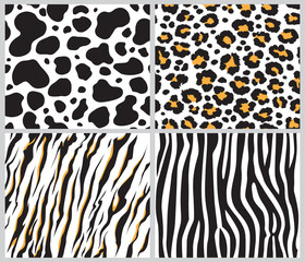 animal skin seamless pattern set, vector illustration Background with african animals pattern Cute hand drawn doodle cards, wild animal tiger, zebra, giraffe, cheetah