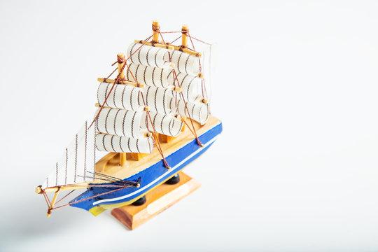 Sailing ship model isolated on white background