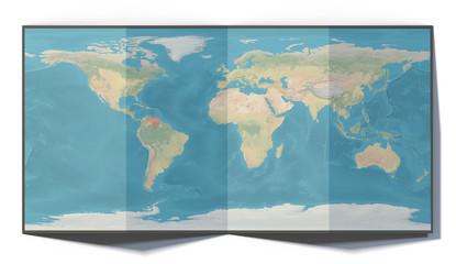 Cartina mondo, Venezuela, disegnata su un foglio piegato, planisfero appoggiato su una superficie. Cartina fisica. 3d rendering