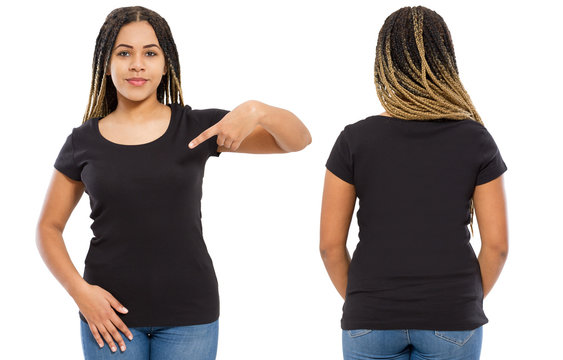 Black shirts set. Summer t shirt design and close up of young afro american woman in blank template t-shirt. Mock up. Copy space. front and back view.