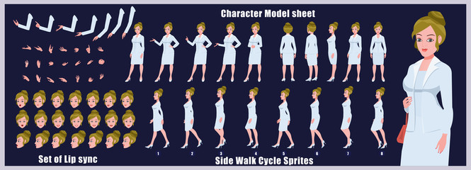 Character Model sheet with walk cycle animation sprites and lip syncing