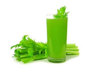 Healthy celery juice in a tall glass isolated on a white background.