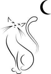 Katzen Zeichnung Silhouette