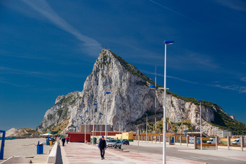 Gibraltar, SPAIN - MAY 2018:View to the rock of Gibraltar