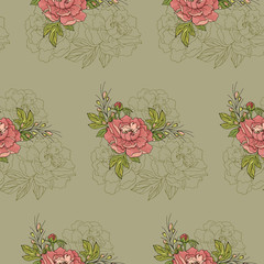 Seamless pattern. Arrangement of peony flowers on a green background.