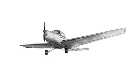 Poster Avion à Moteur Old vintage airplane isolated on white background.