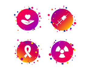 Medicine icons. Syringe, life insurance, radiation and ribbon signs. Breast cancer awareness symbol. Hand holds heart. Gradient circle buttons with icons. Random dots design. Vector