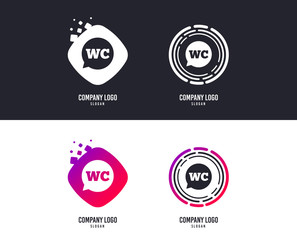 Logotype concept. WC Toilet sign icon. Restroom or lavatory speech bubble symbol. Logo design. Colorful buttons with icons. Vector