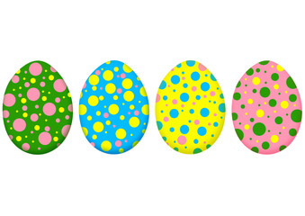 Multicolored easter eggs isolated on white background