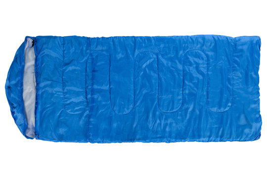 blue sleeping bag, laid out, top view, on a white background