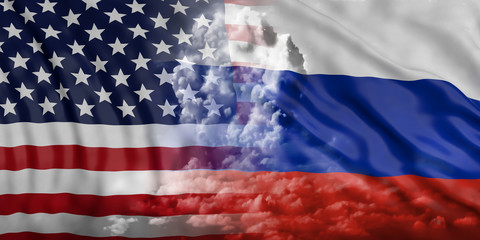 USA and Russia nuclear threat. Nuclear cloud on America and Russian flags background. 3d illustration