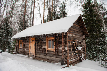 Antique wooden barn house in winter forest. Retro building of the early 19th century.