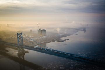 Aerial of Foggy Sunrise Benjamin Franklin Bridge