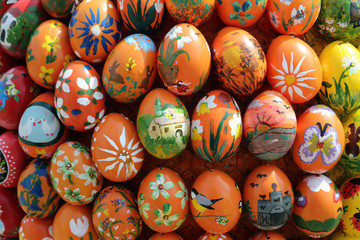 Easter eggs exposed in front of the parish church of St. Stephen in Wasseralfingen, Germany