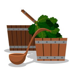 Set for a sauna from two wooden tubs a scoop for water and a broom from oak branches.