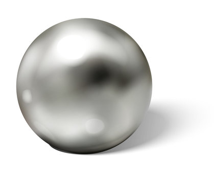 Steel ball on white surface realistic vector