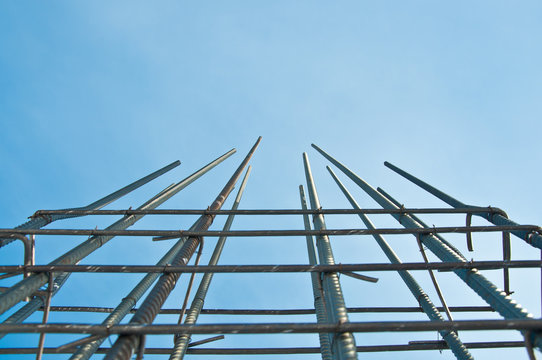 Part of the structural element of the reinforcement. Concrete work. Construction site. Construction of a new building.