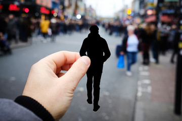 silhouette of a man by Camden Town, in London, UK