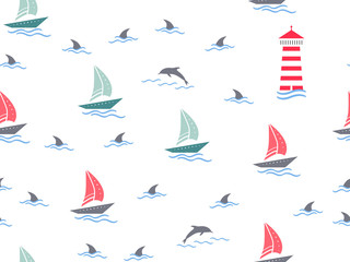 Marine, lighthouse, sailboat seamless pattern. Yachts, boats, dolphins, cute doodle baby elements. Sea summer background. Childish background for fabric, baby clothes, Hand drown design for boys.