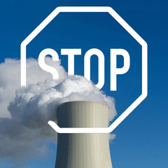concept exit from fossil energy - stop sign - coal power plant