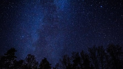 Night sky over rural landscape.