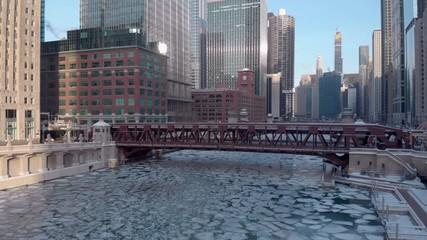 Fototapete - Chicago downtown skyline aerial river buildings bridge ice winter
