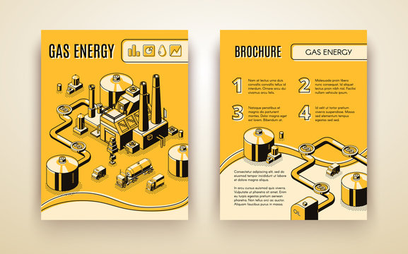 Vector brochure template with 3d isometric gas energy plant, transportation in pipes, trukcs and refinery. Processing plant, LNG terminal in line art, yellow color. Booklet with heavy industry objects