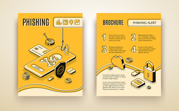 Vector brochure template with 3d isometric phishing alert concept, security mobile app, solution for personal data and finances. Yellow booklet with skull and crosses bones on phone screen in line art