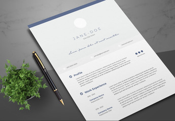 Resume Layout with Navy Blue Accents