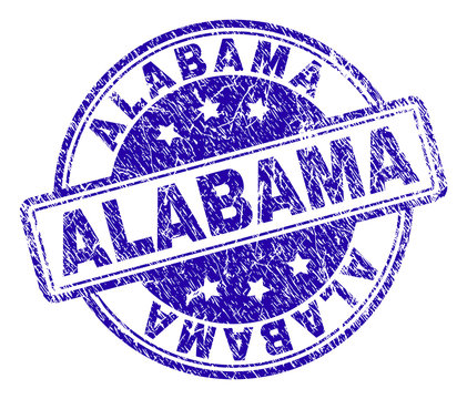 ALABAMA stamp seal watermark with grunge texture. Designed with rounded rectangles and circles. Blue vector rubber print of ALABAMA text with grunge texture.