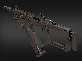 Sci Fi Weapon Rifle 3d illustration on the background