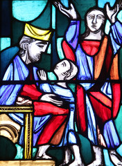 Hannah presenting her son Samuel to the priest Eli, Stained glass window in Basilica of St. Vitus in Ellwangen, Germany