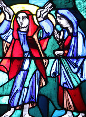 Visitation of Mary to Elizabeth, Stained glass window in Basilica of St. Vitus in Ellwangen, Germany