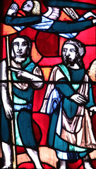 Stained glass window in Basilica of St. Vitus in Ellwangen, Germany
