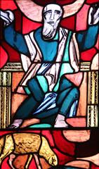 Prophet Isaiah, stained glass window in Basilica of St. Vitus in Ellwangen, Germany