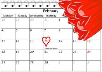 Valentin`s Tag Kalender Herz Schriftzug und Blumen