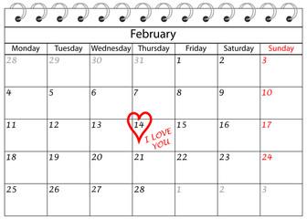 Valentin`s Tag Kalender Ich Liebe Dich mit Herz Rahmen