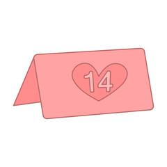 calendar 14 february. flat icon vector design illustration