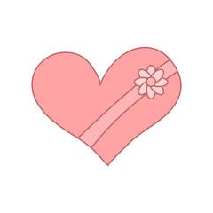 gift box with heart shape. vector design illustration