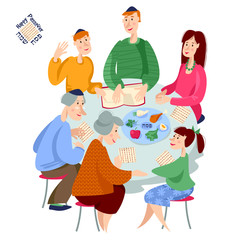 Jewish family celebrates Passover. Reading of the Passover Haggadah.